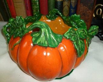 SALE!!! 32.00was 45.00 Vintage Halloween Thanksgiving Pumpkin Candy Dish Ceramic