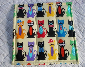 Cattitude Quilted Hot Pad /Pot Holder/mini quilt