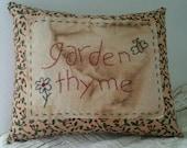 Primitive Stitchery Garden Thyme Pillow OFG