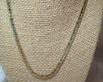 1980s Herring Bone with Vine Pattern Chain Necklace.