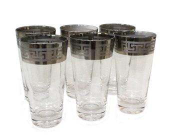 Set 6 Silver Rim Band Highball Glasses Tumbler Greek Key