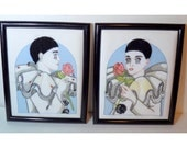Pair French Clown Needlepoint Embroidery Framed Art, Man & Woman Holding Rose, Two Pierrot Harlequin Vintage Handmade Wall Art