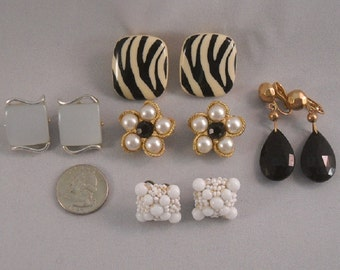 Old Clip Earrings Five Pair