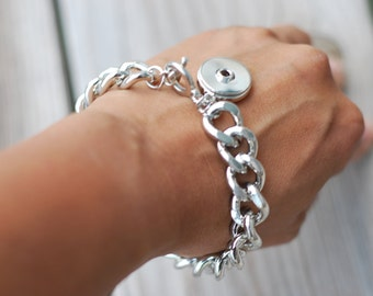 Snap Button Charm Bracelet Silver Tone Jewelry Dangle Chunky