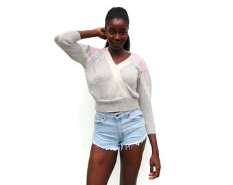 Light grey with pastels V wrap sweater with angora 1980s 80s VINTAGE
