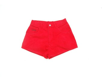 SALE!!!!!!!!!! Cherry red high waist high rise high rise denim shorts 1990s 90s VINTAGE