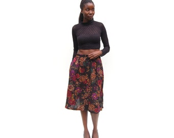 Fall florals rose print button front midi skirt 1990s 90s VINTAGE