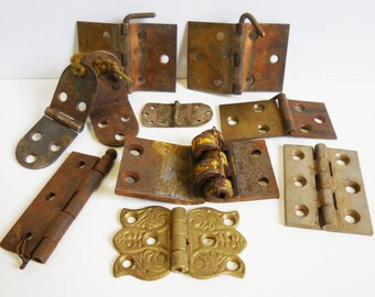 10 Vintage Hinges Variety decorative industrial Rustic salvaged Hardware Variety supplies