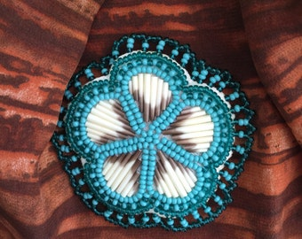 Porcupine Quill Beaded pin Turquoise Southwetern Native American Made