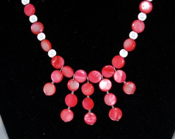 Pink necklace, Lilly Pulitzer inspired necklace