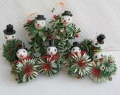 8 Vintage Kitschy Plastic Snowmen Ornaments