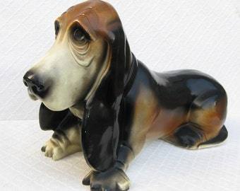 Vintage Plastic Bassett Hound Bank, Flying A Gasoline Promotion, 1950s-60s