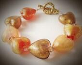Fiery Hearts Bracelet ~ Handmade Glass, Swarvoski Crystal, Statement, Art Nouveau, Gift for Her