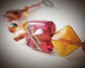 Hand Painted Garden Bracelet ~ Handmade Glass, Czech Glass, Flower, Large Bracelet, Gift for Her
