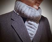 Men's Gray Tweed Scarf ~ Crochet, Neckwarmer, Boy's Scarf, Gift for Him