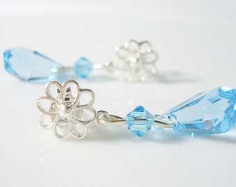 Sterling Silver Blue Crystal Drop Post Earrings