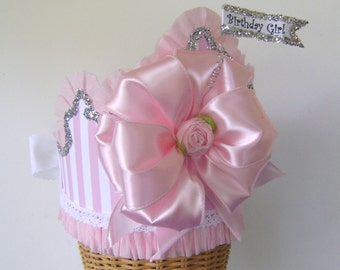 Birthday Party Crown Birthday Party Hat- Photo Prop Hat, Big Bow Hat-  pink stripes- with or without flag