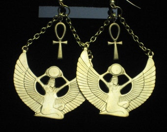 Brass Egyptian Isis Goddess and Ankh Earrings