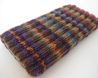 hand knitted wool iPhone 5 sock cosy - cellphone sock - iPhone SE phone sock - mobile phone case - unique striped wool phone sock