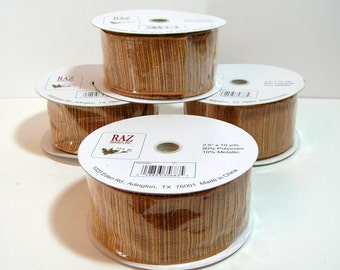 "Wire Edged Gold Ribbon, 2 1/2"" Wide Craft Ribbon, Ribbon For Bows, Gold Ribbon, 40 Yards"