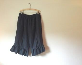 Refashion black linen pants 1x baggy bloomers textured big ruffle side pockets elastic waist recycled gypsy boho mori