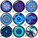 Snap charms in multi blues for your Ginger Snap jewelry and Noosa Jewelry. Mandala style 20 mm snap buttons will fit 18-20 mm snap bracelets