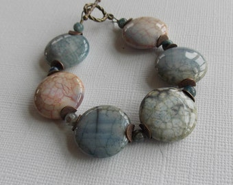 """Pale Blue & Pale Pink Agate, Kyanite 7"""" Bracelet, small wrist, denim, serenity blue, 2016 colors, mothers day, gift for her, stone washed"""
