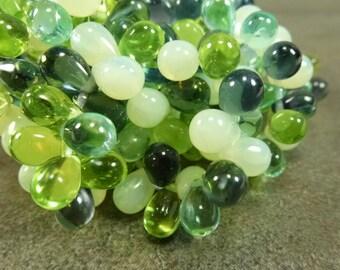 Spring Green Mix Czech Glass Teardrop 9x6mm 25pc Green Montana Blue Yellow Opal