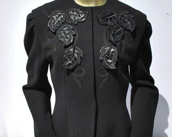Vintage 40's SOPHIE NAT Paris jacket applique leaves tailored WWII jacket glam rockabilly size L by thekaliman