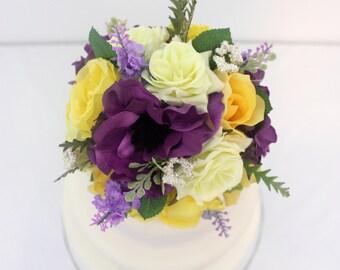 Wedding Cake Topper - Yellow Rose, Purple Anemone, Lavender Silk Flower Cake Topper, Silk Wedding Cake Flowers, Fake Flower Cake Topper