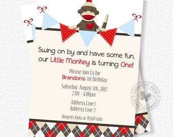Sock Monkey Birthday Invitation, Monkey Party Invitation, Boy Birthday Invitation, First Birthday Invitation
