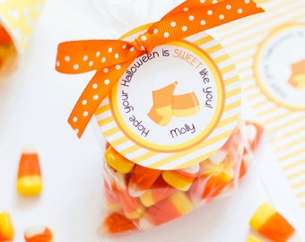 Candy Corn Tag, Halloween Favor Tags, Halloween Candy Labels, Trick or Treat Tag, Candy Corn Party, Personalized