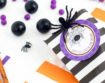 Spider Halloween Tag, Halloween Favor Tags, Halloween Candy Labels, Trick or Treat Tag, Spider Party, Personalized