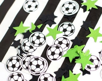 Soccer Confetti, Birthday Confetti, Soccer Ball Confetti, Birthday Party Decorations, Green and Black Table Confetti - 100 CT