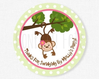 Monkey Favor Tags, Jungle Party Tags, Safari Favor Tags, Girl Birthday Party Favors, Pink and Green Tag, Personalized