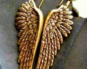 Gorgeous Ox Brass Angel Wings Earrings