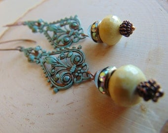 Ox Brass Filigree And New Jade  Earrings