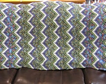 """Crocheted Afghan Ripple Style White Green Purple Red 37"""" X 78"""""""