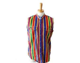 30% off sale // Vintage 80s Sleeveless Multicolor Stripe Button Down Top - Women M - Bonjour - rainbow, bright colors