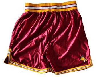 Vintage 80s 90s Basketball Athletic Shorts // Men XL Betlin // made in America, maroon gold