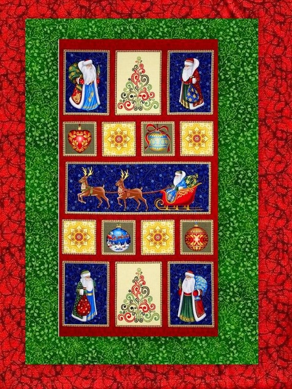 Items similar to Easy Christmas Fabric Panel Quilt Kit ...