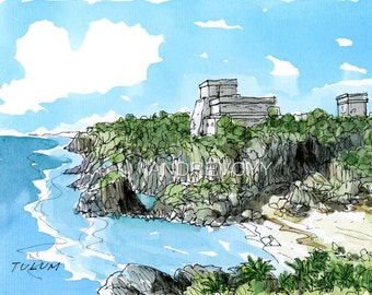 TULUM MEXICO art print from an original watercolor painting