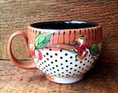 Dotty Cherry Latte Mug