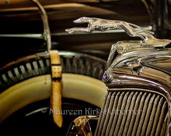 1934 Ford, car museum photo, vintage car, greyhound hood ornament, classic car, garage wall art, man cave art, man gift, old car photo