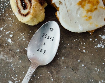Peace and Joy - Hand Stamped Spoon