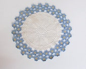 Lovely Vintage Crocheted Doily With Blue Flowers
