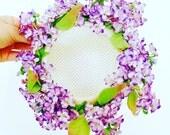 Vintage lilac blossom hat/Pastel ombré colors/Shabby flowers/lavender color/vintage millinery flowers