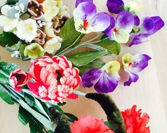 Lot vintage millinery flowers/Pansies/forgetmenot/daisies