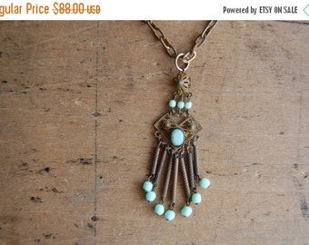 SALE Vintage 1930s glass bead fringe pendant ∙ PISTACHIO Czech glass fringe necklace
