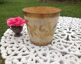 VINTAGE ITALIAN WASTEBASKET Holder Gold Gilt and Cream Shabby Chic cottage Style at Retro Daisy Girl